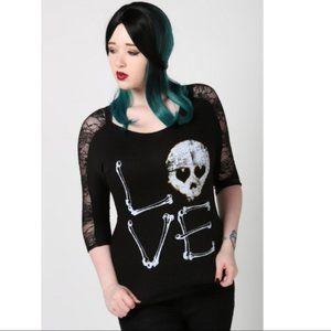 NWT Mani Skull & Bones Black Lace Top
